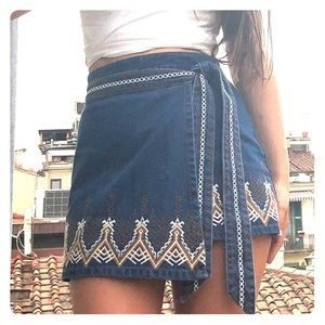 Anthropology embroidered jean wrap skirt